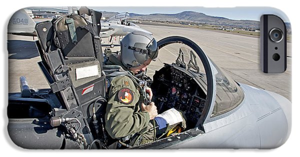 Cockpit Photographs iPhone Cases - An F-15 Pilot Performs Preflight Checks iPhone Case by HIGH-G Productions