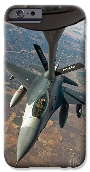 Mechanism iPhone Cases - An F-16 Fighting Falcon Receiving Fuel iPhone Case by Stocktrek Images