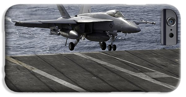 F-18 iPhone Cases - An Fa-18e Super Hornet Prepares To Land iPhone Case by Stocktrek Images