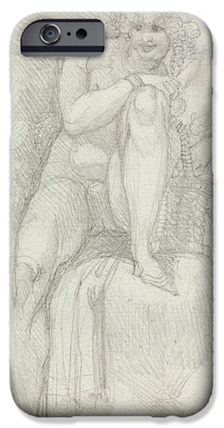 Swiss Drawings iPhone Cases - An Hermaphrodite iPhone Case by Henry Fuseli
