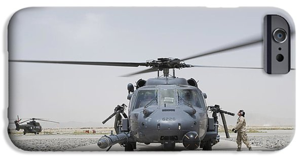 Afghanistan iPhone Cases - An Hh-60 Pave Hawk Lands After A Flight iPhone Case by Stocktrek Images