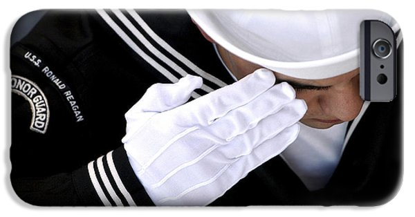 White Glove iPhone Cases - An Honor Guard Member Renders A Salute iPhone Case by Stocktrek Images