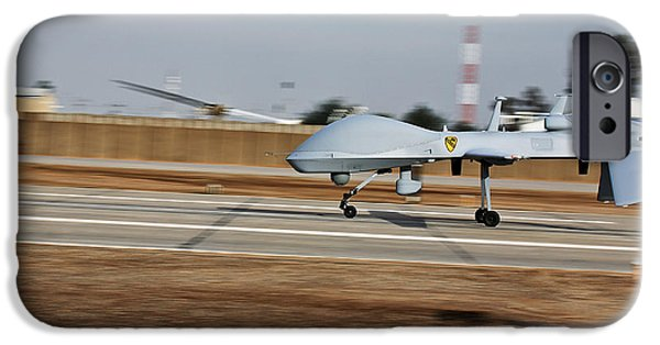 Iraq iPhone Cases - An Mq-1c Sky Warrior Uav Lands At Camp iPhone Case by Stocktrek Images