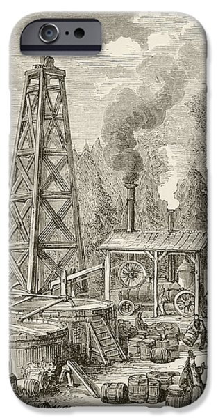 Nineteenth iPhone Cases - An Oil Well In Nineteenth Century iPhone Case by Ken Welsh