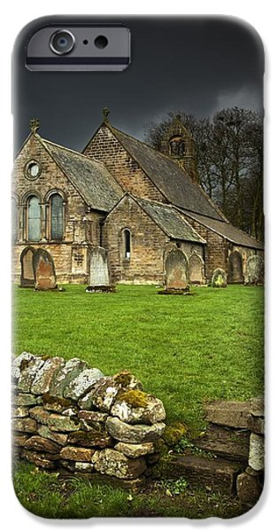 Headstones iPhone Cases - An Old Church Under A Dark Sky iPhone Case by John Short
