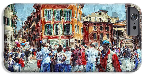 Old Town Digital iPhone Cases - An Old Town Tourist Route iPhone Case by Yury Malkov