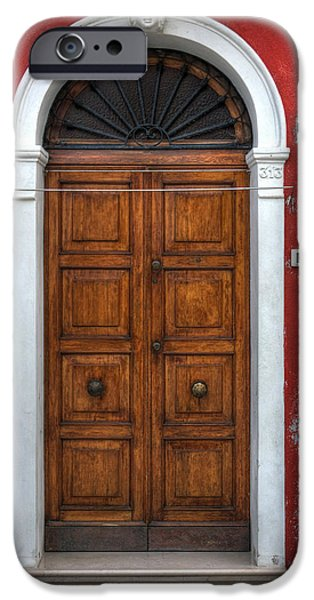 Door iPhone Cases - an old wooden door in Italy iPhone Case by Joana Kruse