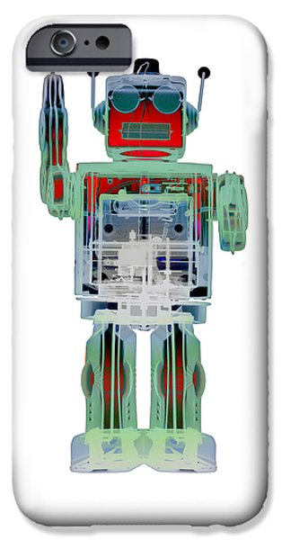 Toy Store iPhone Cases - AN0D3 X-ray Robot Art No.3 iPhone Case by Roy Livingston