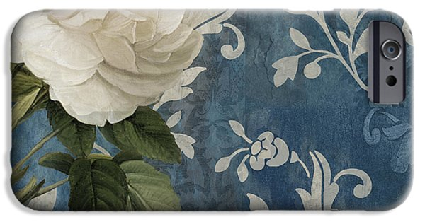 White Flowers Paintings iPhone Cases - Anastasia iPhone Case by Mindy Sommers