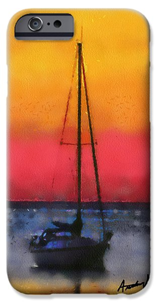 Sailboat Ocean iPhone Cases - Anchored iPhone Case by Anthony Caruso