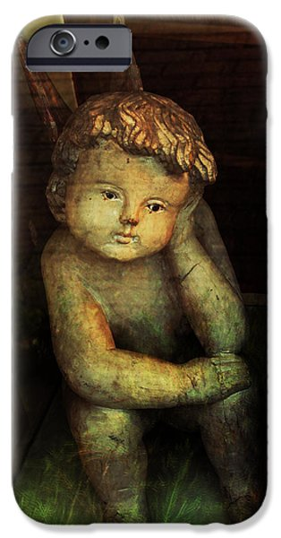 Thinking iPhone Cases - Ancient Cherub iPhone Case by Susan Vineyard