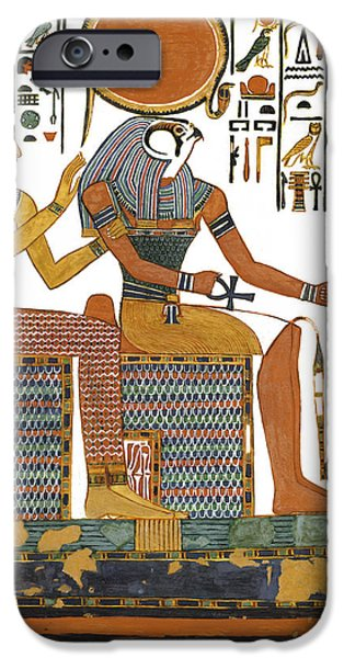 Hathor Paintings iPhone Cases - Ancient Egyptian Gods Hathor and Re iPhone Case by Ben  Morales-Correa