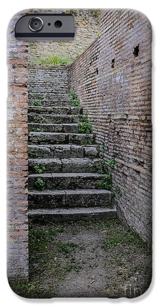 Staircase iPhone Cases - Ancient stairs Rome Italy iPhone Case by Edward Fielding