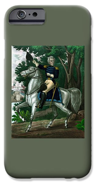 President iPhone Cases - Andrew Jackson On Horseback iPhone Case by War Is Hell Store