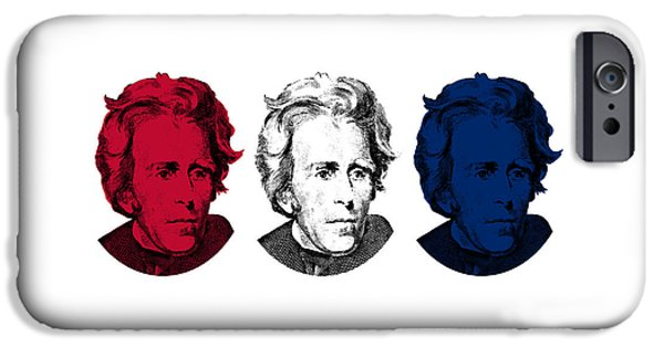 U.s Heroes iPhone Cases - Andrew Jackson Red White and Blue iPhone Case by War Is Hell Store