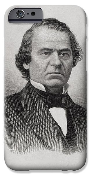 First Black President Drawings iPhone Cases - Andrew Johnson 1808 To 1875 iPhone Case by Ken Welsh