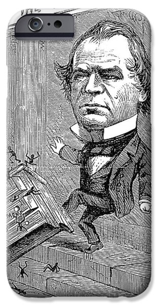 Nast iPhone Cases - Andrew Johnson Cartoon iPhone Case by Granger
