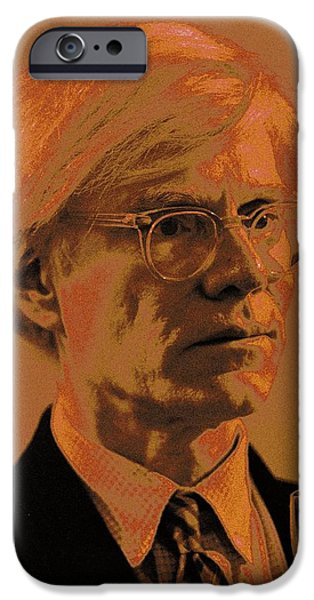 Celebrities Art iPhone Cases - Andy Warhol / 3 iPhone Case by Jean-Marie Bottequin
