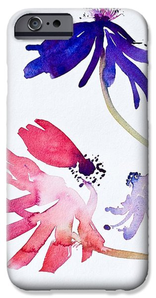 Flower Of Life Paintings iPhone Cases - Anemones II iPhone Case by Simon Fletcher