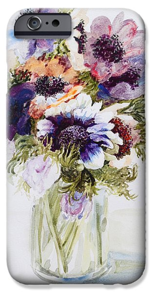 Petals Drawings iPhone Cases - Anemones in a Glass Jug iPhone Case by Joan Thewsey