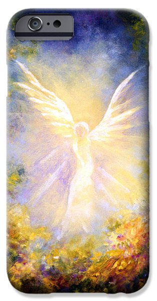 Guardian iPhone Cases - Angel Descending iPhone Case by Marina Petro