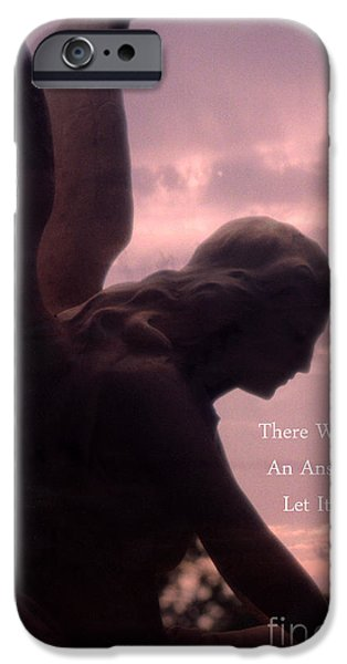 Angel. Spiritual iPhone Cases - Angel Guardian Art - Inspirational Angel Art - Guardian Angel Silhouette iPhone Case by Kathy Fornal