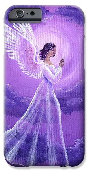 Night Angel iPhone Cases - Angel in Amethyst Moonlight iPhone Case by Laura Iverson