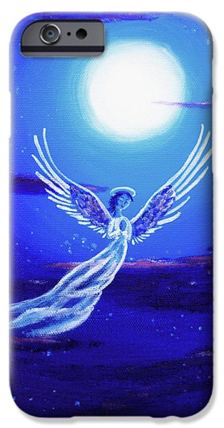 Angel Blues iPhone Cases - Angel in Blue Starlight iPhone Case by Laura Iverson