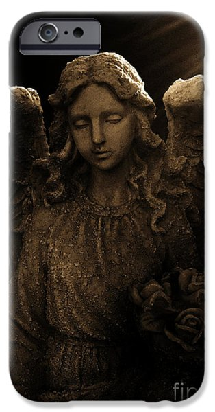 Tree Art Print Sculptures iPhone Cases - Angel in Light iPhone Case by Nathan Little
