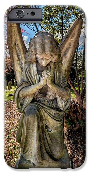 Tombstones iPhone Cases - Angel In Prayer iPhone Case by Adrian Evans