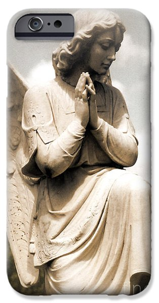 Print Photographs iPhone Cases - Angel In Prayer Kneeling - Guardian Angel of Compassion iPhone Case by Kathy Fornal