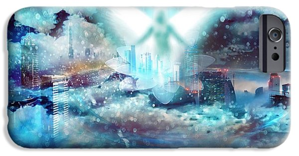 Night Angel Mixed Media iPhone Cases - Angel iPhone Case by LDS Dya
