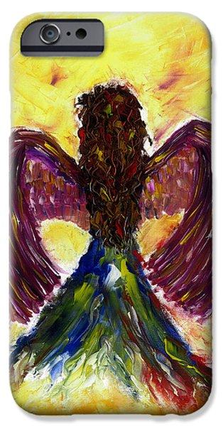 Seraphim Angel Drawings iPhone Cases - Angel iPhone Case by Leena Kewlani