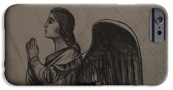 Religious Drawings iPhone Cases - Angel iPhone Case by MaryEllen Frazee