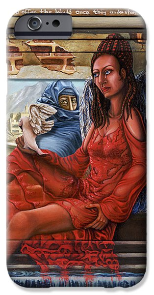 Iraq Paintings iPhone Cases - Angel of Peace iPhone Case by Karen Musick