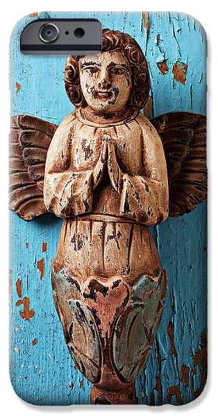 Angel Blues iPhone Cases - Angel on blue wooden wall iPhone Case by Garry Gay