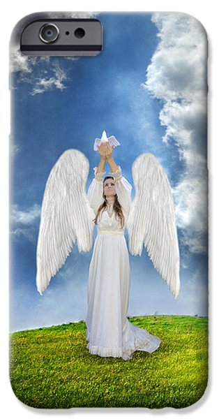 Angel Releasing a Dove iPhone Case by Jill Battaglia