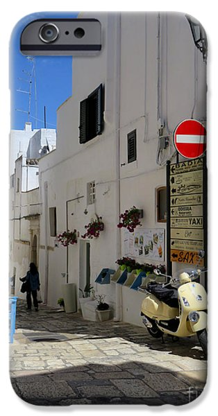 Angel Blues iPhone Cases - Angel Street.Ostuni.Italy iPhone Case by Jennie Breeze