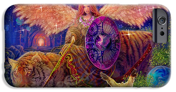 Angel Blues iPhone Cases - Angel tarot card Angel Fairy Dream iPhone Case by Steve Roberts