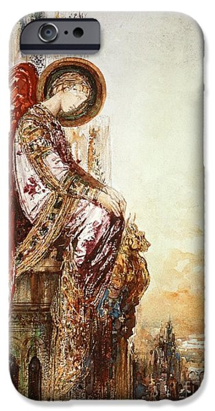 Watercolors Paintings iPhone Cases - Angel Traveller iPhone Case by Gustave Moreau