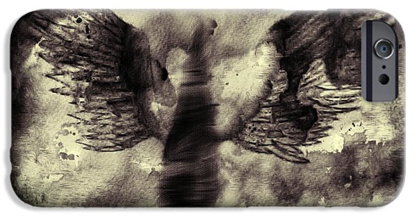 Seraphim Angel Drawings iPhone Cases - Angel V iPhone Case by J M Lister