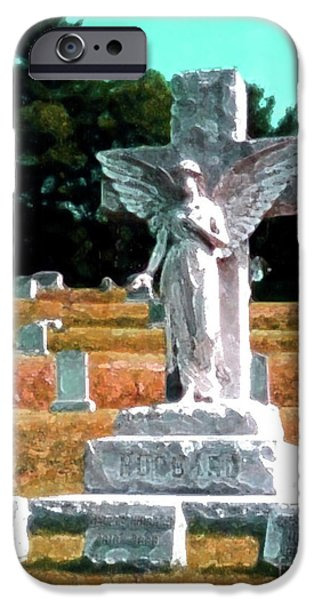 Cemetary Mixed Media iPhone Cases - Angel Watching Over iPhone Case by Desiree Paquette