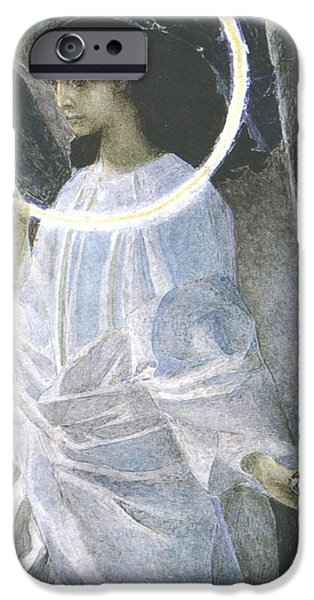 Halos iPhone Cases - Angel with a Candle iPhone Case by Mikhail Aleksandrovich Vrubel