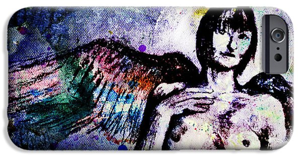 Multimedia iPhone Cases - Angel with rainbow wings iPhone Case by Michael  Volpicelli