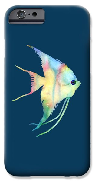 Zoology Paintings iPhone Cases - Angelfish I - Solid Background iPhone Case by Hailey E Herrera