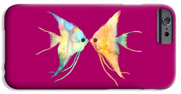 Zoology Paintings iPhone Cases - Angelfish Kissing iPhone Case by Hailey E Herrera