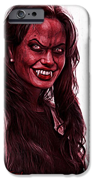 Fury iPhone Cases - Angelina Jolie iPhone Case by Gene Spino