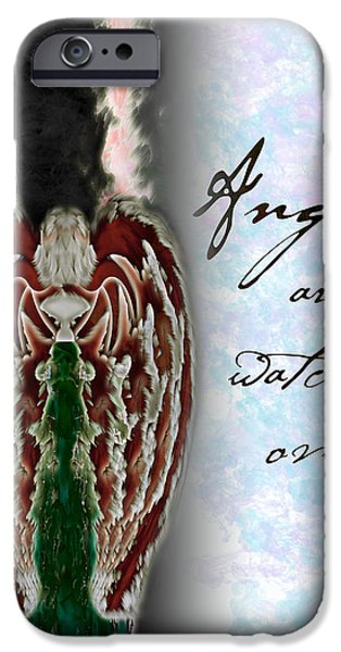 Seraphim Angel iPhone Cases - Angels are watching over us iPhone Case by Christopher Gaston
