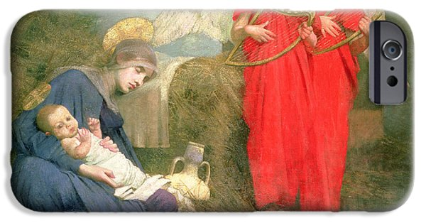 Straw iPhone Cases - Angels Entertaining the Holy Child iPhone Case by Marianne Stokes