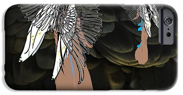 Religious Drawings iPhone Cases - Angels Of Righteous Love iPhone Case by Belinda Threeths